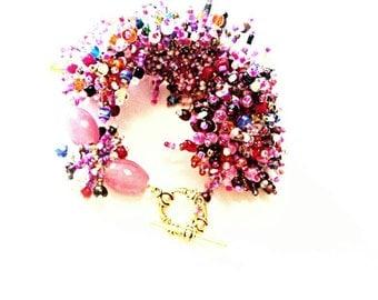 Stone forests beaded handmade bracelet purple seed beads beaded purple pink handmade bracelet purple bracelet for Mom handmade jewelry gift