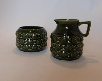 Vintage Secla Green Milk & Sugar set – original from the 1960's
