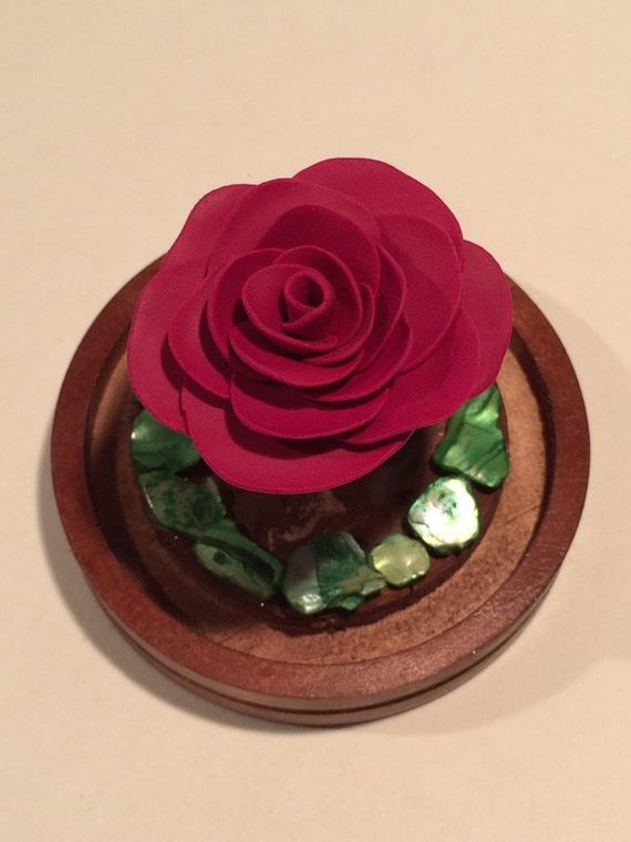 dunkle rote rose in einer glaskuppel sch nheit und die. Black Bedroom Furniture Sets. Home Design Ideas