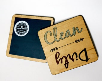 Dishwasher Magnet, Dirty Clean Notifier Sign, Country Kitchen Blue, Cursive Word Graphics