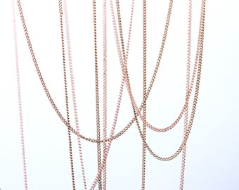 1535_Pink gold chain 1 mm, Golden chain, Chain plated gold, Necklace supplies, Jewelry findings, Golden necklace, Metal jewelry findings_1 m