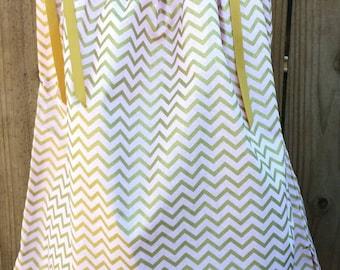 Chevron pillowcase dress , light pink chevron dress, Gold Chevron Pillowcase Dress, Pillowcase Dress, MIss Thangs, Girl's Clothing, Dress