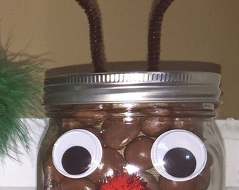 Reindeer mason jar with candy and secret compartment for extra goodies