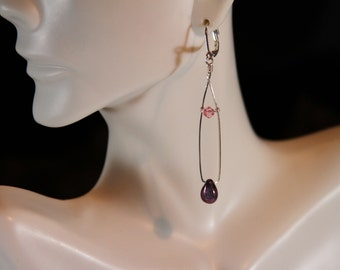 Purple Cherry teardrop dangle earrings