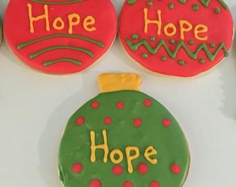 Holiday ornament sugar cookies