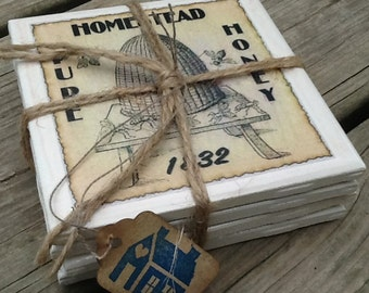 Set of 4 Ceramic Tile Coasters/Primitive/Country/Grungy Labels