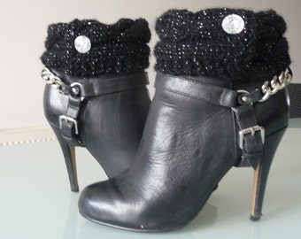 Black Glitter Boot Cuffs, Boot Toppers with Diamante Buttons