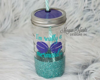 Mermaid glitter cup // I'm really a mermaid // glitter tumbler // glitter mason jar // real life mermaid cup // glitter dipped