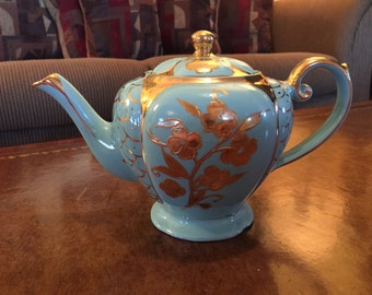 Arthur Wood Teal and Gold Flowered Teapot