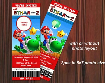 Super Mario Birthday Invitations gangcraftnet