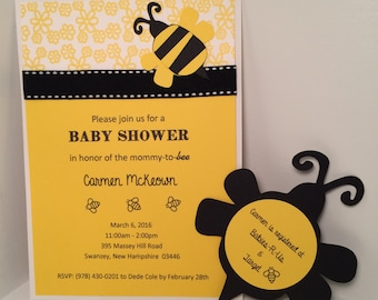 Bumblebee Mommy-to-Bee Baby Shower Invitations (set of 8)