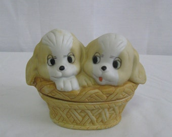 Vintage Puppies In A Basket Ceramic Trinket Box - Gift Idea Cute Puppies Rings Jewelry Box  SEE Details
