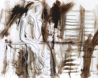 Woman drawing, Giclee art print, Woman print, Figurative wall art, Modern Artwork, Graphic art print, Woman sketch, Living room wall decor