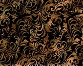 Hoffman - Bali Fabrics - Antique Black -  N2819-A4 - Batiks - Swirls - Leaves - Gold - Black - Antique - One More Yard