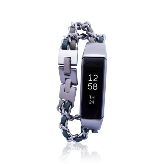 Bracelet NOE - Silver - for Fitbit Alta - Alta HR - Jewelry - Stainless steel and real leather