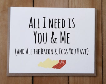 You and Me and Bacon and Eggs: Valentine's Day Card, Anniversary Card, Parks and Recreation Quotes, Ron Swanson Quotes, Funny Valentine's