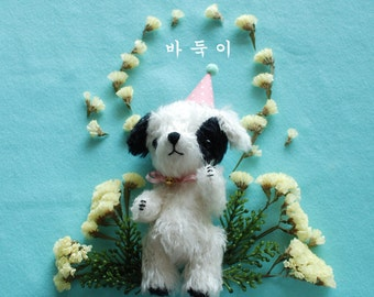 black and white mohair dog [sold out]