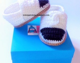 Chanel crochet baby espadrilles with GIFT BOX. Crochet baby ballerinas. Chanel baby shoes.