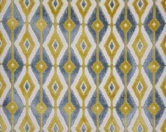 DESIGNER BLAINE SOUTHWEST Ikat Kilim Cut Velvet Fabric 10 Yards Cream Sky Gold
