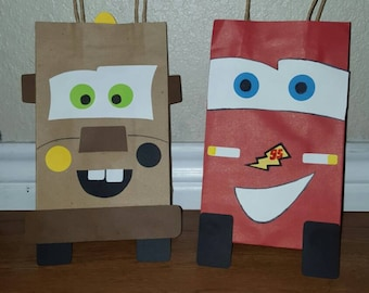 10 Lightning McQueen and Mater Party Favor Bags