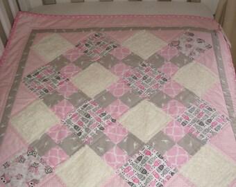 Modern baby girl quilt, playmat, pram cover, bassinet cover