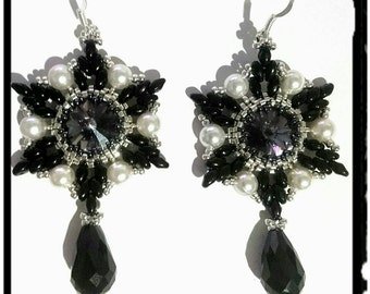 Black-Silver earrings, with Rivulets of glass, beads and pearls