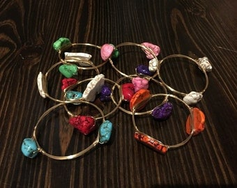 Rock Wire Wrapped Bracelet