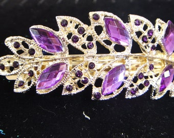 Rhinestone Leaf Hair Barrette