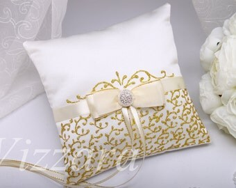 Ring Bearer Pillow - GOLD - Hand PAINTED - Wedding Ring Pillows gold Ring Bearer Pillows gold wedding Pillow gold wedding ring Pillow gold