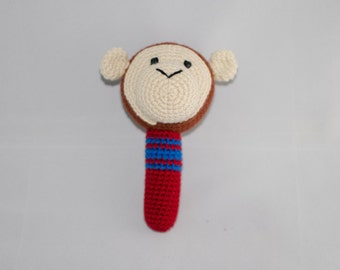 Crochet monkey rattle, for baby