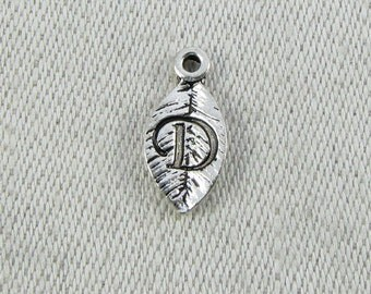 """Silver Leaf Letter """"D"""" Charm 1 or 5 letters per package  ALF017d"""