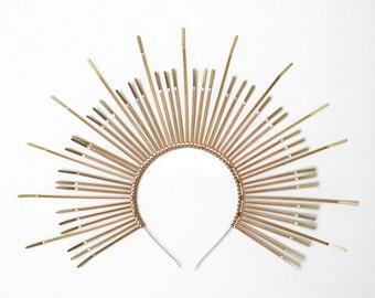 MARY HALO CROWN Spiked sunburst headband - Plastic Zip Ties - Iconography - Madonna - Virgin Mary - Saints - Headpiece - Headdress - Gold