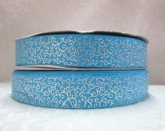 7/8 inch DELICATE SILVER SWIRLS On Turquoise / Aqua Blue   -  Printed Grosgrain Ribbonfor Hair Bow