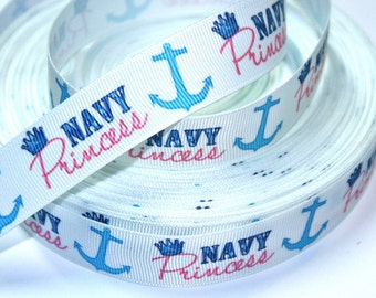 7/8 inch Navy Princess on White - Nautical - Anchor - Navy - Printed Grosgrain Ribbon for Hair Bow