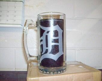 detroit tigers etched beer mug