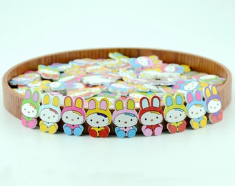 Mixed 40 pcs Rabbit Pattern Wooden Buttons,Wooden Buttons,Buttons For Child,31.5mm x21mm(143-24)