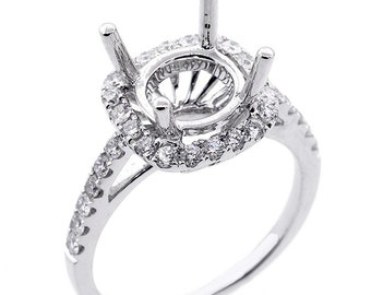 0.68 Ctw F/G VS2/SI1 CUSHION/ROUND Diamond Halo Engagement SETTING set in 14K White Ring
