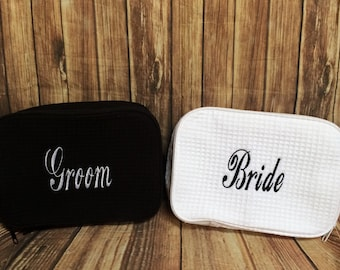 Personalized waffle Cosmetic makeup bag with name or initials wedding bridesmaid gift