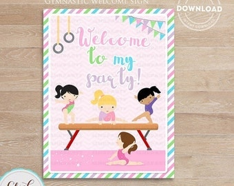 50% OFF SALE Gymnastic Welcome Sign, Gymnastic Party Printable Sign, Door Sign, Birthday party decorations, Party supplies, INSTANT Download