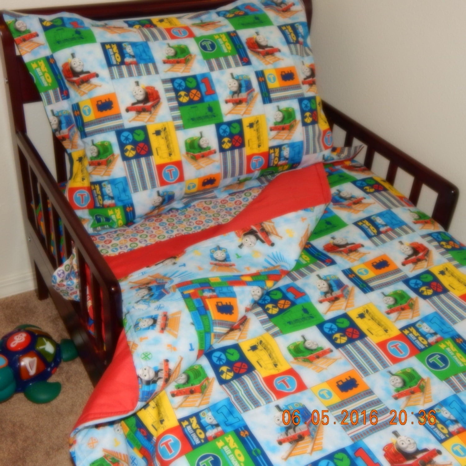 Toddler bedding thomas the train by snuggybuddy on etsy for Toddler train bedroom