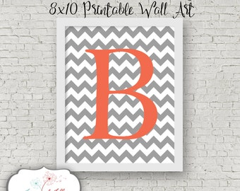 8x10 Printable Wall Art Initial Letter Custom Colors Decor Design Chevron Print Gift Present Nursery Decoration Child's Room Children