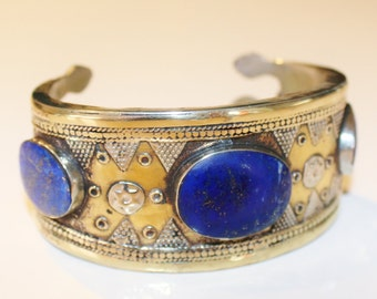 Tribal Bracelet, Gilded Vintage Kazakh Tribal Bracelet with Lapislazuli Stones, Goldwashed Turkmen Bracelet