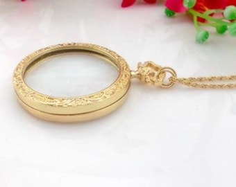 1pc 45mm gold Magnifying Glass Necklace Pendant no.64