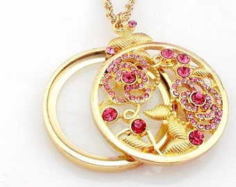 1pc 45mm gold Magnifying Glass Necklace Pendant no.65