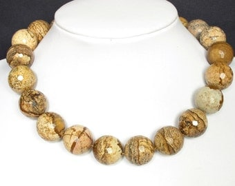 Necklace Picture Jasper 20mm Facet Round Beads 925 NSPS3122