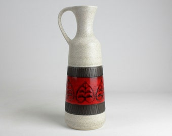 Tall Fat Lava ceramic vase red black white, West German Pottery, Mid Century, 70s -vintage, modernist