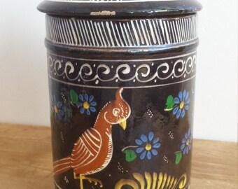Vintage  Mexican Clay Pottery Tlaquepaque Jar
