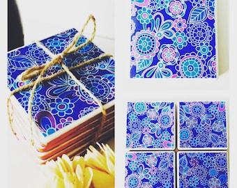 Set of 4 Blue & Purple Flower Print Ceramic Coasters