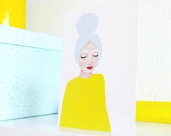 A6 Card of Original Painting Woman yellow dress - Stationary Postcard Face Wall Art Decoration Wall Artwork print Acrylic Modern pastel