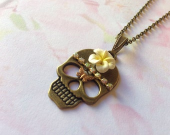 Necklace skull flowers dia los muertos frangipani flower